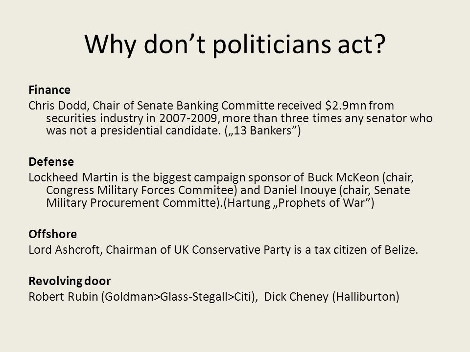 Why don't politicians act.
