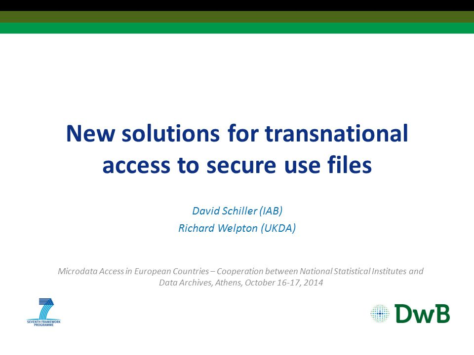 New solutions for transnational access to secure use files David Schiller (IAB) Richard Welpton (UKDA) Microdata Access in European Countries – Cooperation between National Statistical Institutes and Data Archives, Athens, October 16-17, 2014