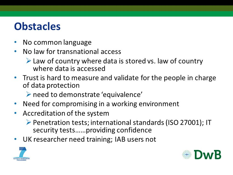 Obstacles No common language No law for transnational access  Law of country where data is stored vs.