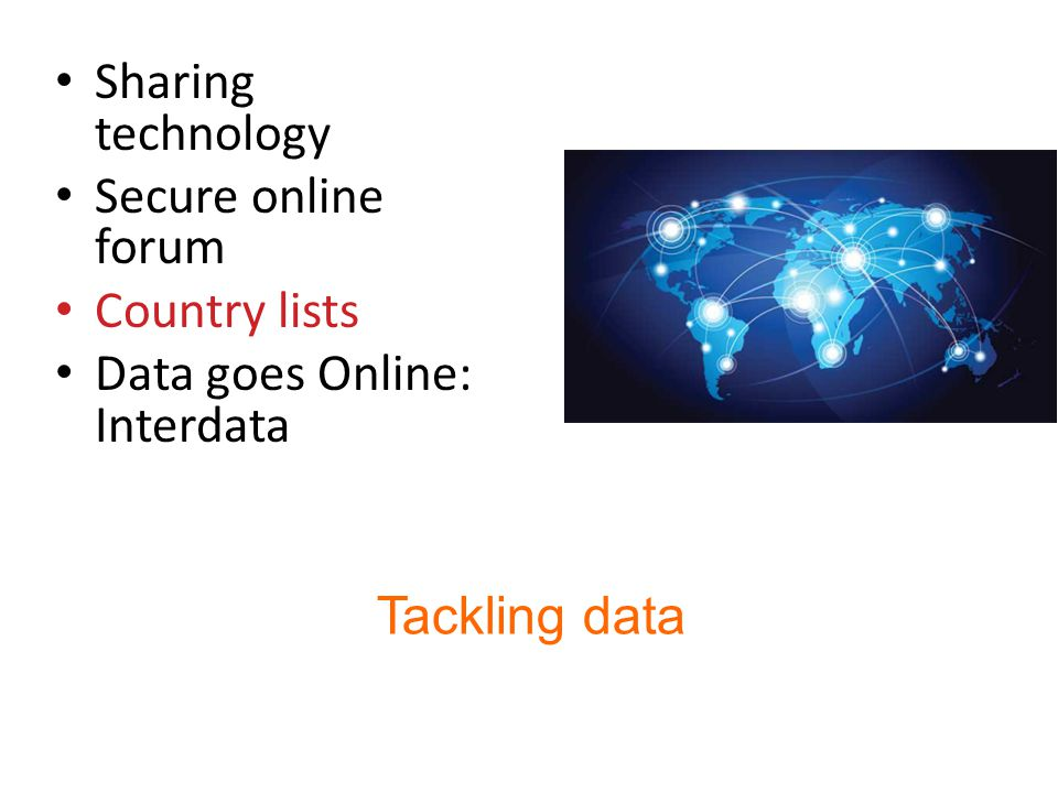 Tackling data Sharing technology Secure online forum Country lists Data goes Online: Interdata