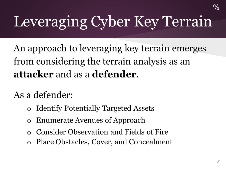 Leveraging Cyber Key Terrain An approach to leveraging key terrain emerges from considering the terrain analysis as an attacker and as a defender. As