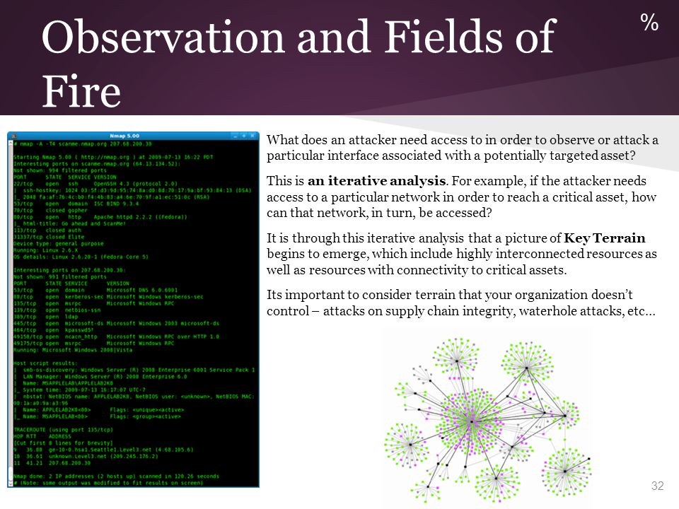 Observation and Fields of Fire What does an attacker need access to in order to observe or attack a particular interface associated with a potentially
