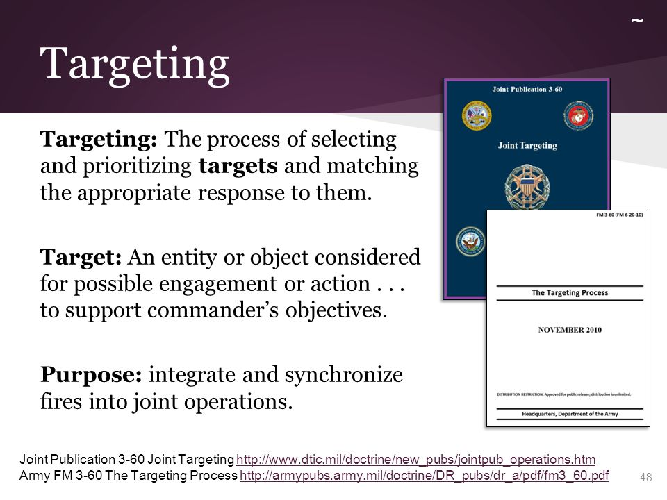 Targeting Targeting: The process of selecting and prioritizing targets and matching the appropriate response to them. Target: An entity or object cons