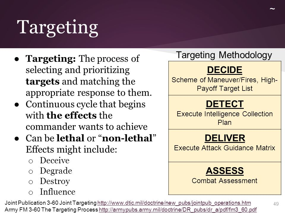 Targeting ● Targeting: The process of selecting and prioritizing targets and matching the appropriate response to them. ● Continuous cycle that begins
