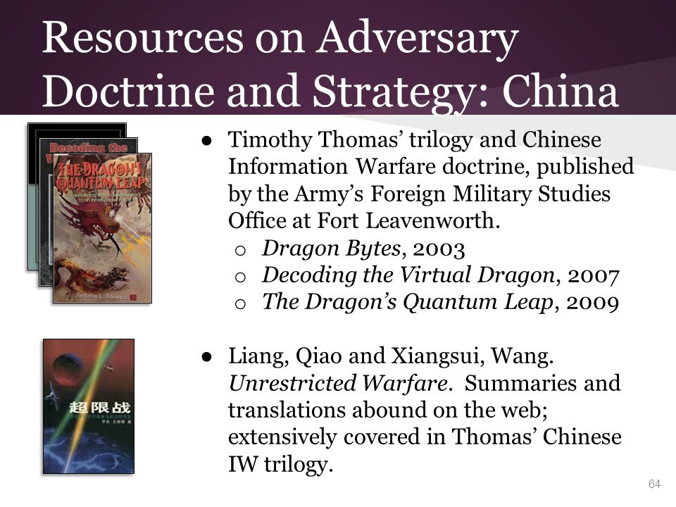 Resources on Adversary Doctrine and Strategy: China ● Timothy Thomas' trilogy and Chinese Information Warfare doctrine, published by the Army's Foreig