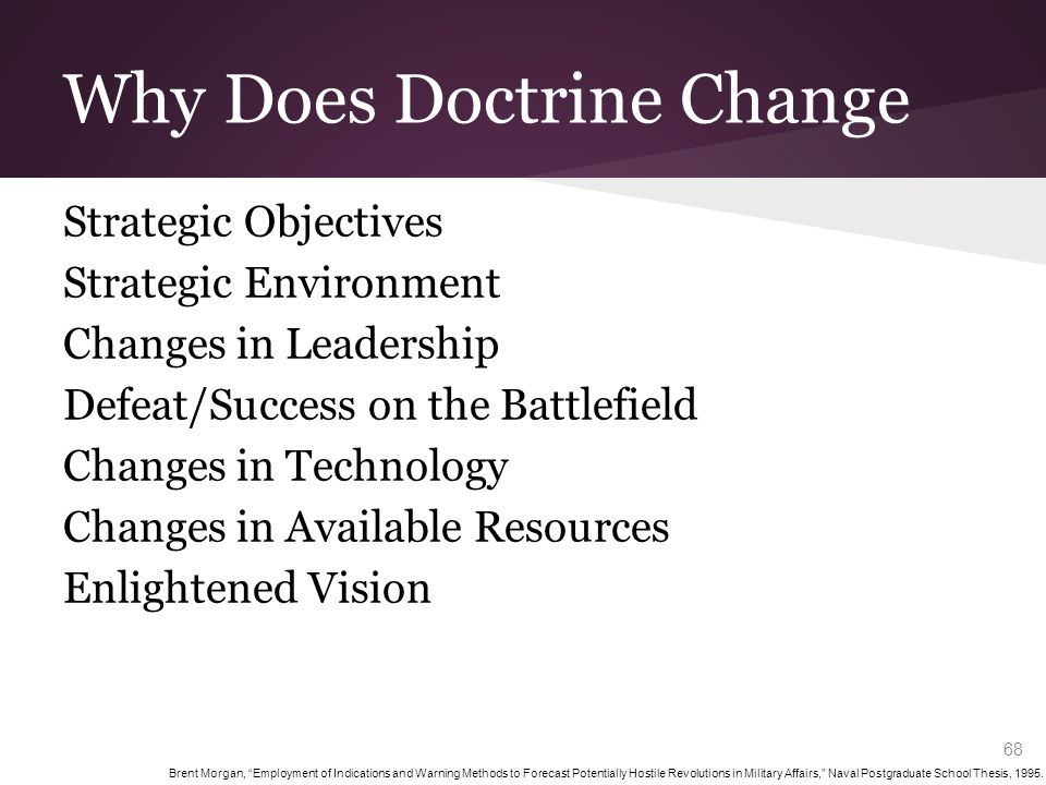 Why Does Doctrine Change Strategic Objectives Strategic Environment Changes in Leadership Defeat/Success on the Battlefield Changes in Technology Chan