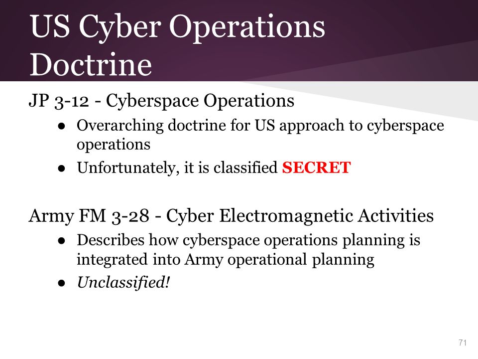 US Cyber Operations Doctrine JP 3-12 - Cyberspace Operations ● Overarching doctrine for US approach to cyberspace operations ● Unfortunately, it is cl