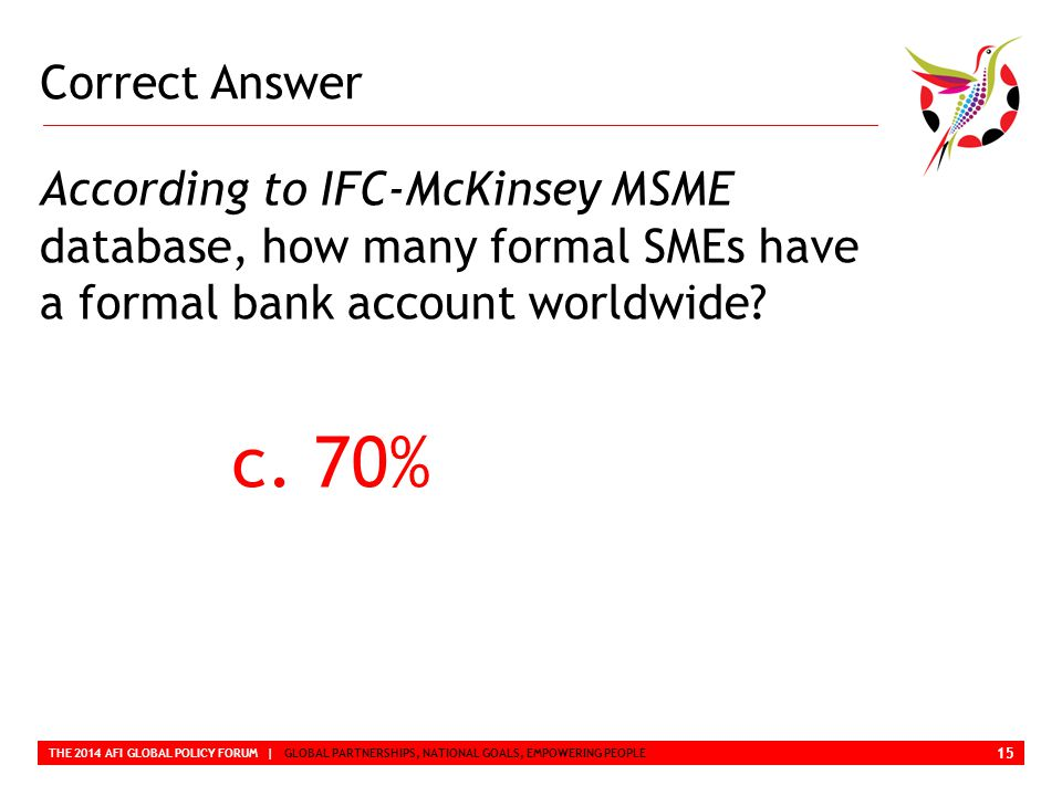 Correct Answer THE 2014 AFI GLOBAL POLICY FORUM | GLOBAL PARTNERSHIPS, NATIONAL GOALS, EMPOWERING PEOPLE According to IFC-McKinsey MSME database, how many formal SMEs have a formal bank account worldwide.