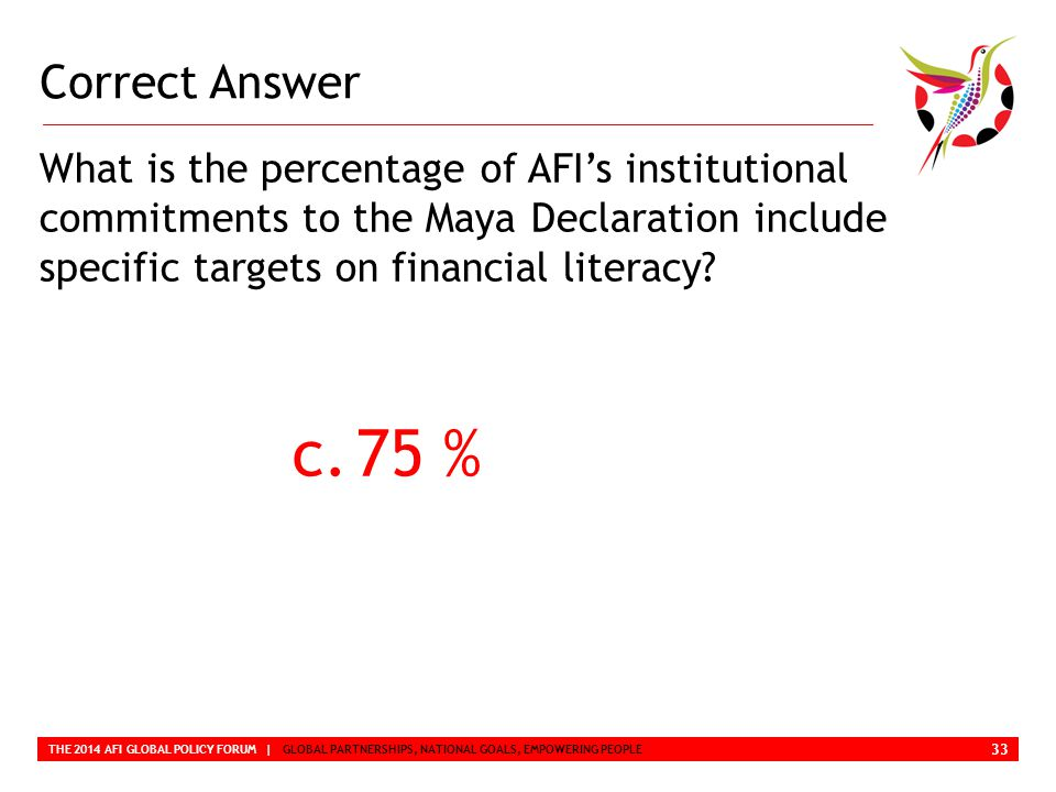Correct Answer THE 2014 AFI GLOBAL POLICY FORUM | GLOBAL PARTNERSHIPS, NATIONAL GOALS, EMPOWERING PEOPLE What is the percentage of AFI's institutional commitments to the Maya Declaration include specific targets on financial literacy.