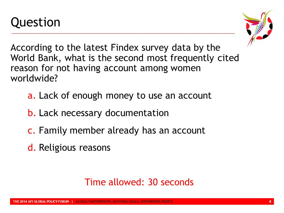 Question THE 2014 AFI GLOBAL POLICY FORUM | GLOBAL PARTNERSHIPS, NATIONAL GOALS, EMPOWERING PEOPLE According to the latest Findex survey data by the World Bank, what is the second most frequently cited reason for not having account among women worldwide.