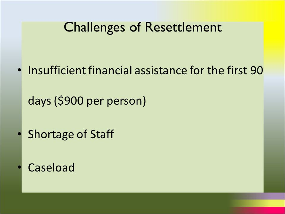 Insufficient financial assistance for the first 90 days ($900 per person) Shortage of Staff Caseload Challenges of Resettlement