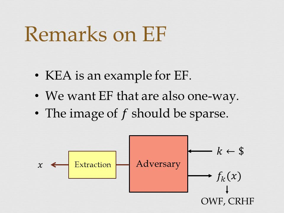 Remarks on EF Adversary Extraction OWF, CRHF