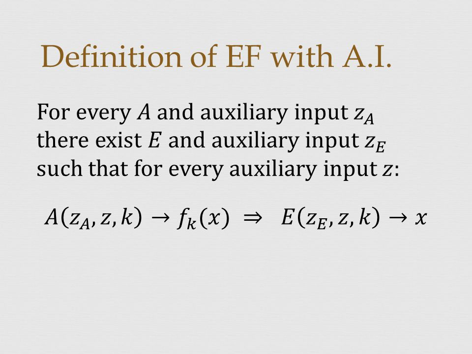 Definition of EF with A.I.