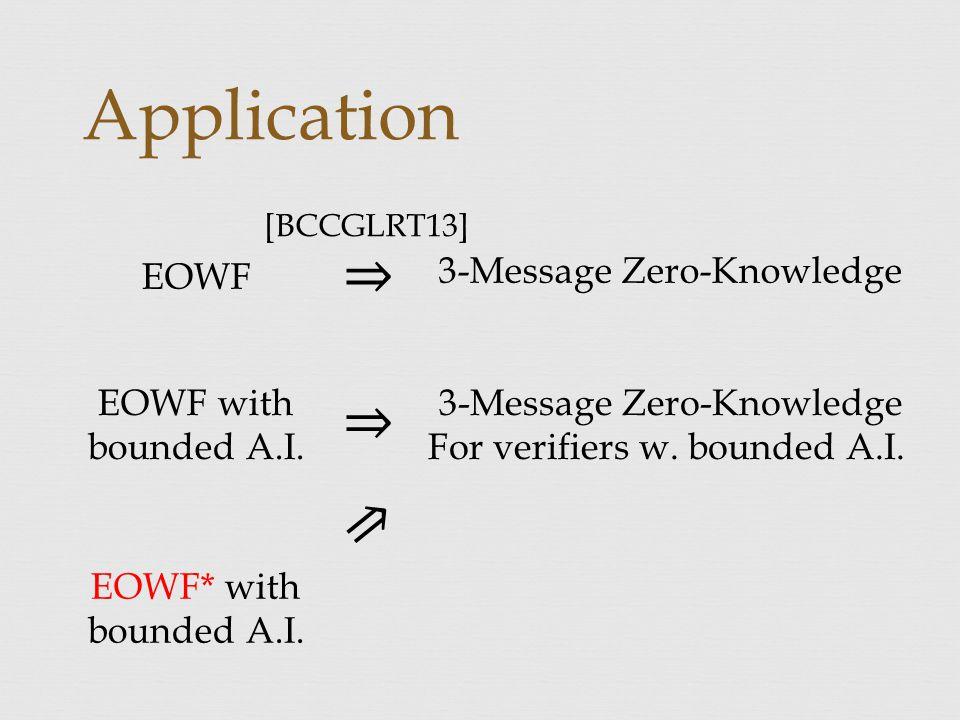 Application 3-Message Zero-Knowledge EOWF 3-Message Zero-Knowledge For verifiers w.