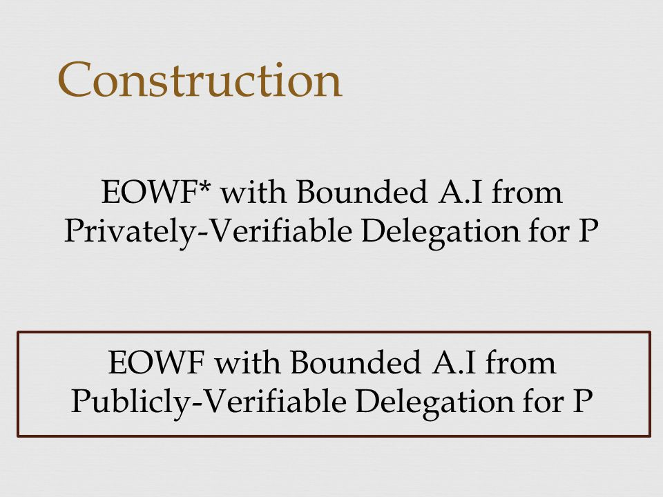 Construction EOWF* with Bounded A.I from Privately-Verifiable Delegation for P EOWF with Bounded A.I from Publicly-Verifiable Delegation for P