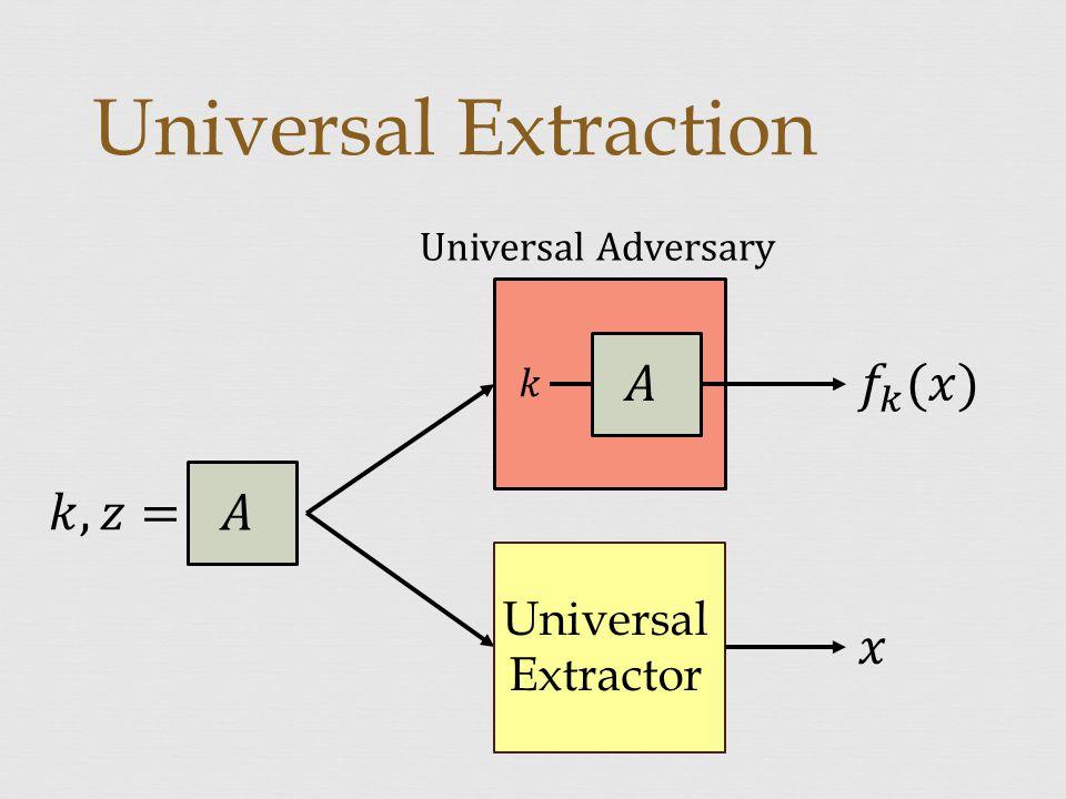 Universal Extraction Universal Extractor Universal Adversary