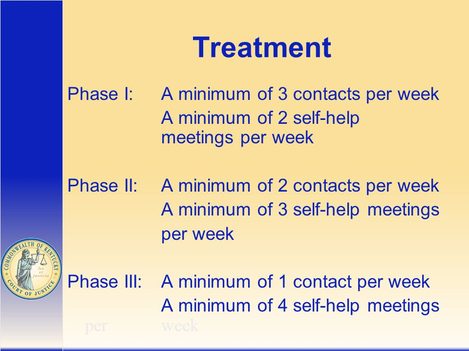 Treatment Phase I:A minimum of 3 contacts per week A minimum of 2 self-help meetings per week Phase II:A minimum of 2 contacts per week A minimum of 3 self-help meetings per week Phase III:A minimum of 1 contact per week A minimum of 4 self-help meetings per week