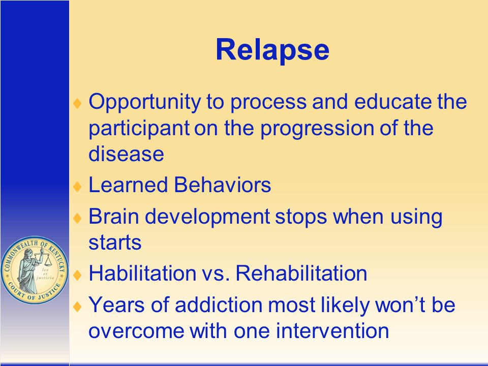 Relapse  Opportunity to process and educate the participant on the progression of the disease  Learned Behaviors  Brain development stops when using starts  Habilitation vs.