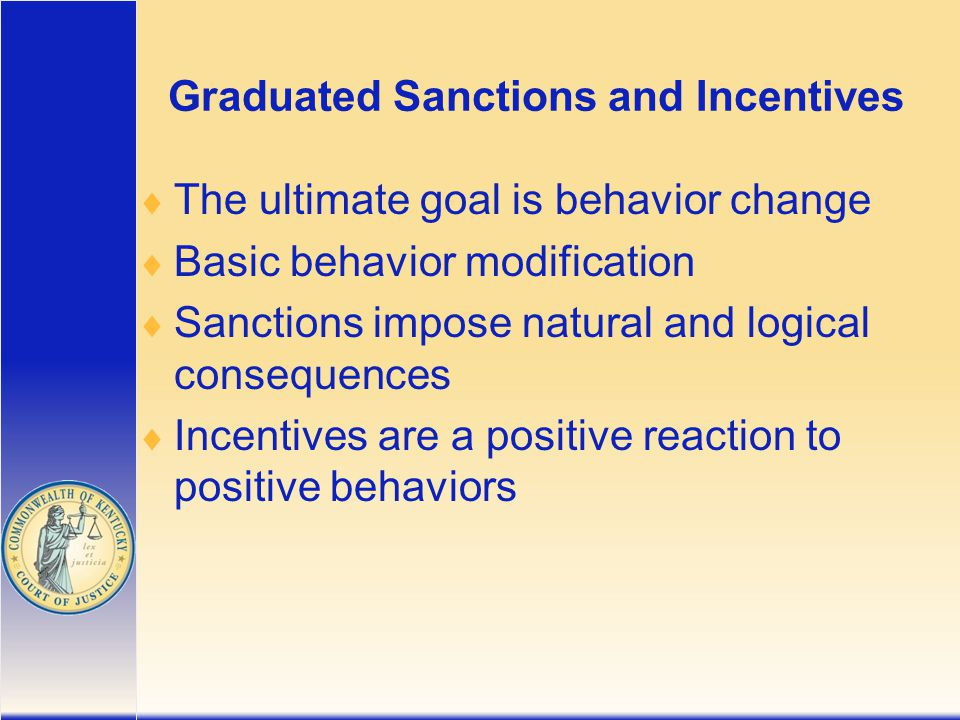 Graduated Sanctions and Incentives  The ultimate goal is behavior change  Basic behavior modification  Sanctions impose natural and logical consequences  Incentives are a positive reaction to positive behaviors
