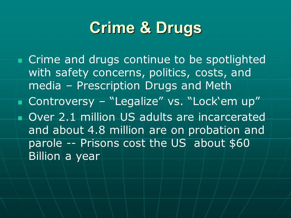 Crime & Drugs Crime and drugs continue to be spotlighted with safety concerns, politics, costs, and media – Prescription Drugs and Meth Controversy – Legalize vs.