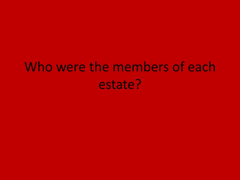 Who were the members of each estate