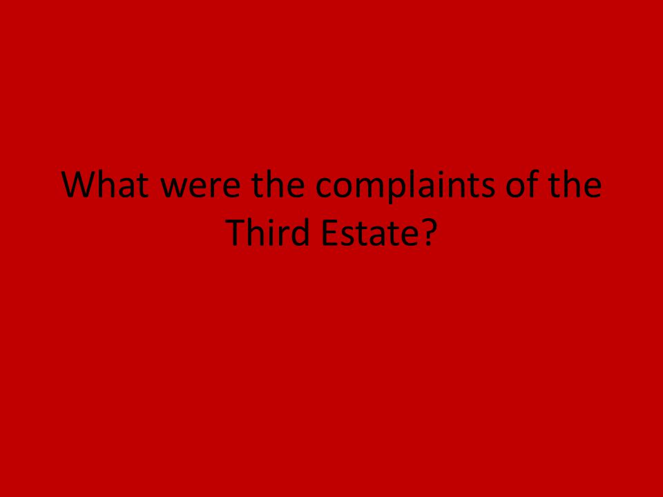 What were the complaints of the Third Estate