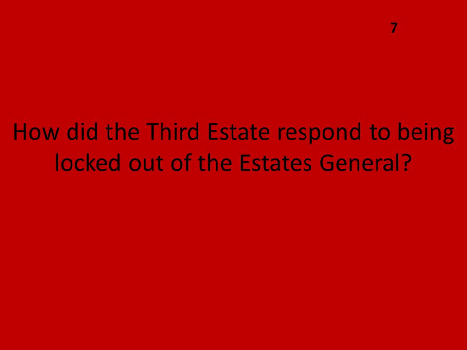 How did the Third Estate respond to being locked out of the Estates General 7