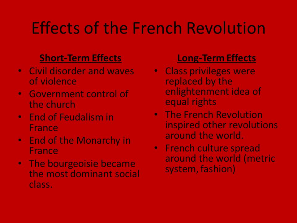 Effects of the French Revolution Short-Term Effects Civil disorder and waves of violence Government control of the church End of Feudalism in France End of the Monarchy in France The bourgeoisie became the most dominant social class.