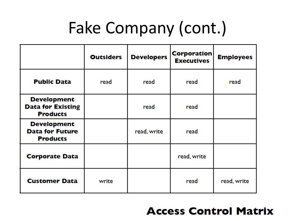 Fake Company (cont.)
