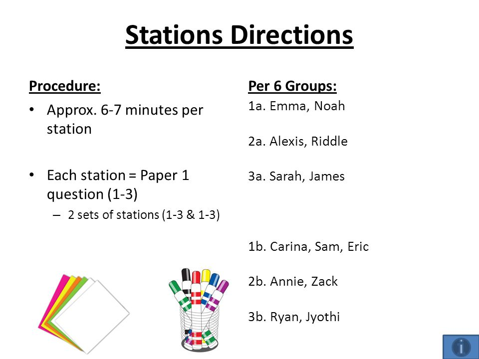 Stations Directions Procedure: Approx.
