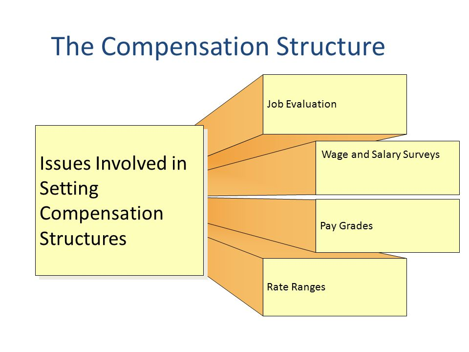 The Compensation Structure Job Evaluation Rate Ranges Pay Grades Issues Involved in Setting Compensation Structures Wage and Salary Surveys
