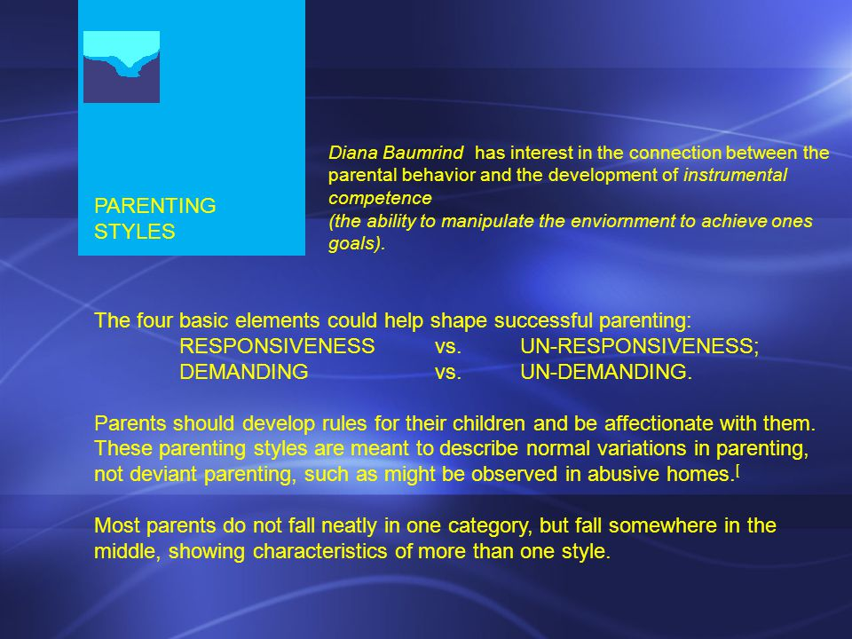 PARENTING STYLES The four basic elements could help shape successful parenting: RESPONSIVENESS vs.