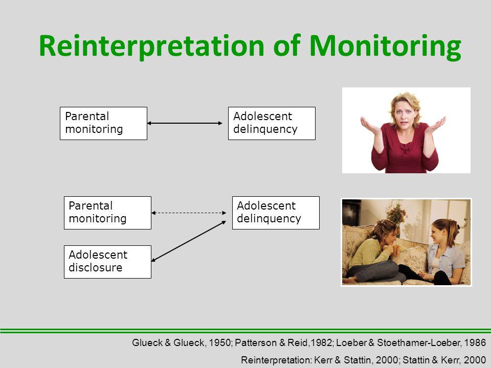 Reinterpretation of Monitoring Parental monitoring Adolescent delinquency Parental monitoring Adolescent delinquency Adolescent disclosure Glueck & Glueck, 1950; Patterson & Reid,1982; Loeber & Stoethamer-Loeber, 1986 Reinterpretation: Kerr & Stattin, 2000; Stattin & Kerr, 2000