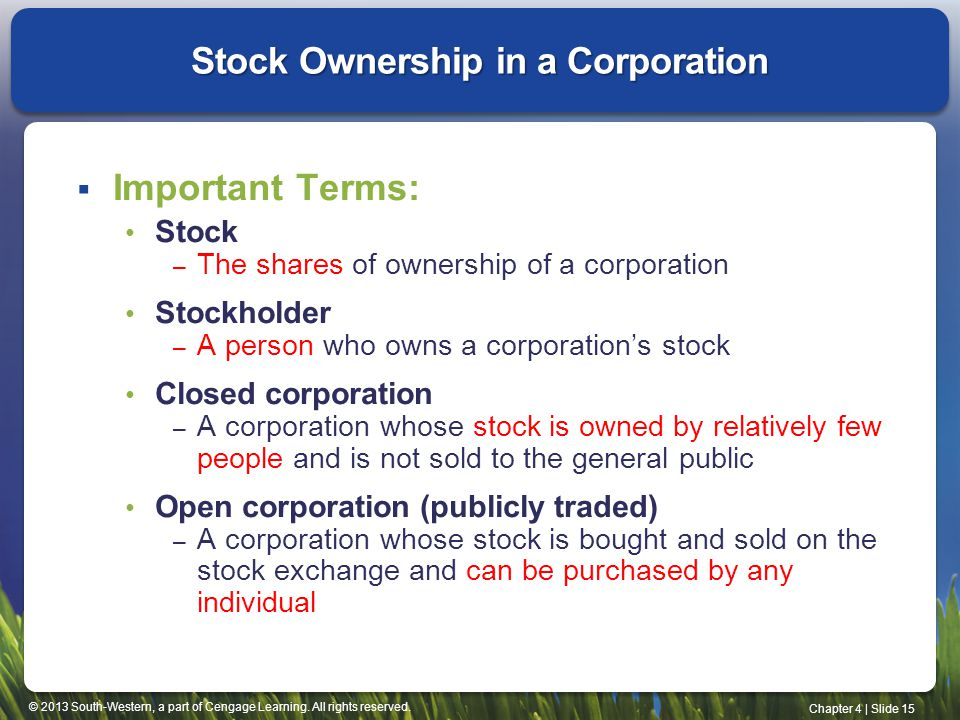 © 2013 South-Western, a part of Cengage Learning. All rights reserved. Chapter 4   Slide 15 Stock Ownership in a Corporation  Important Terms: Stock