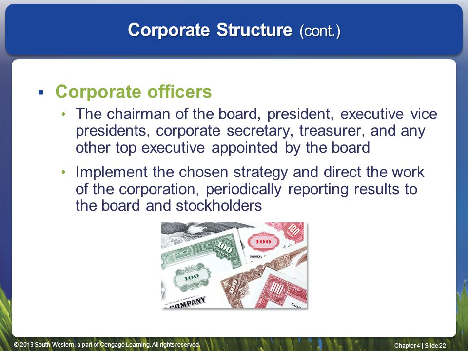 © 2013 South-Western, a part of Cengage Learning. All rights reserved. Chapter 4   Slide 22 Corporate Structure (cont.)  Corporate officers The chair