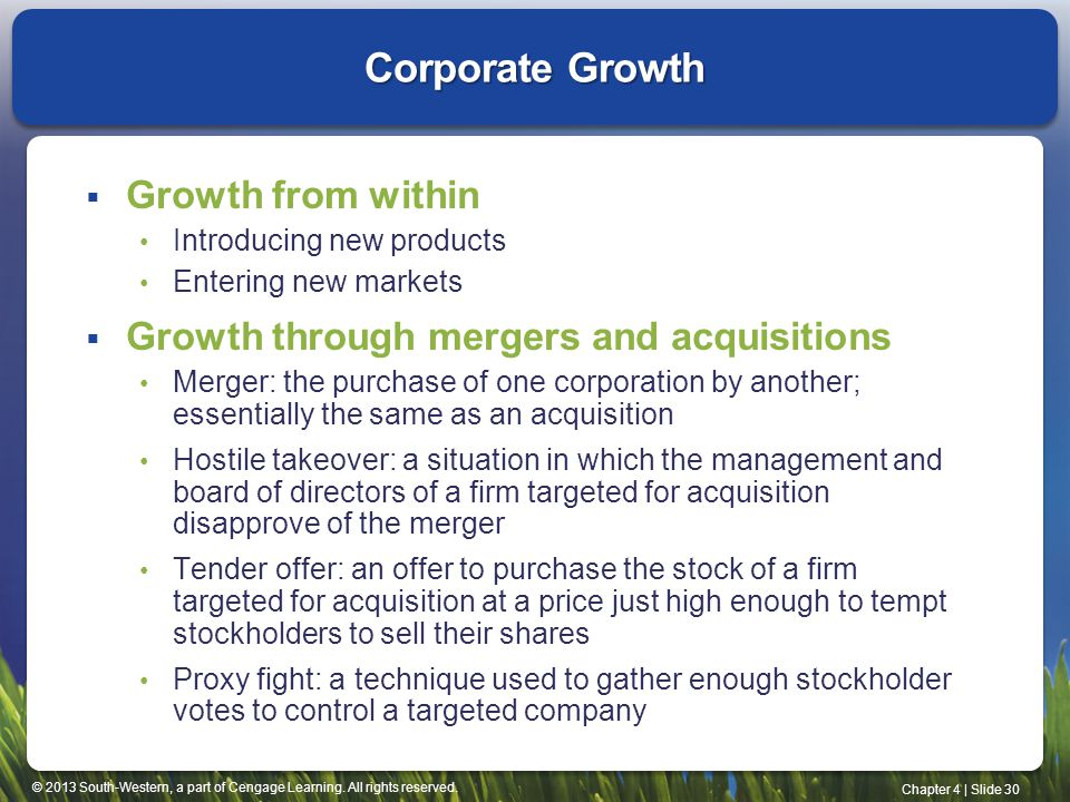 © 2013 South-Western, a part of Cengage Learning. All rights reserved. Chapter 4   Slide 30 Corporate Growth  Growth from within Introducing new prod