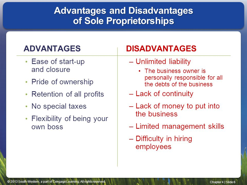 © 2013 South-Western, a part of Cengage Learning. All rights reserved. Chapter 4   Slide 6 Advantages and Disadvantages of Sole Proprietorships ADVANT