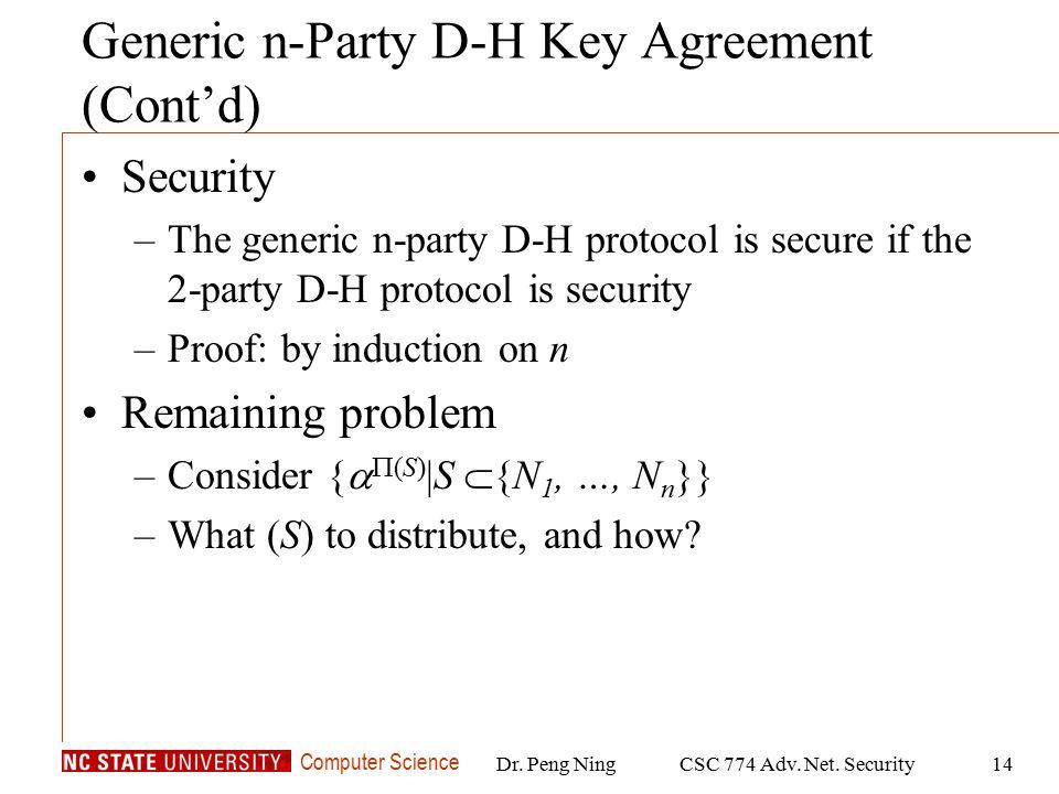 Computer Science Dr. Peng NingCSC 774 Adv. Net.