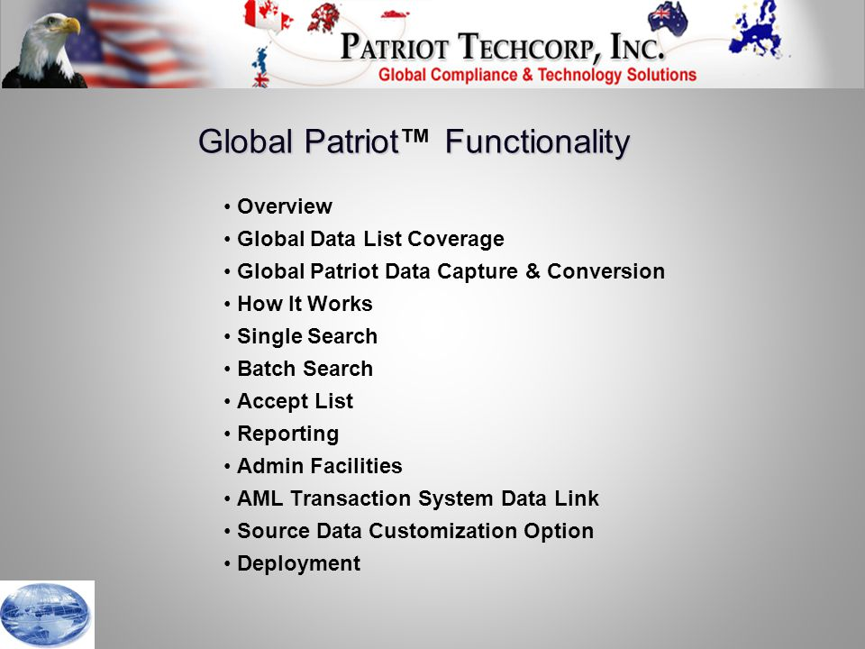 Update the Global Patriot™ program data files with a simple click of the Update button.