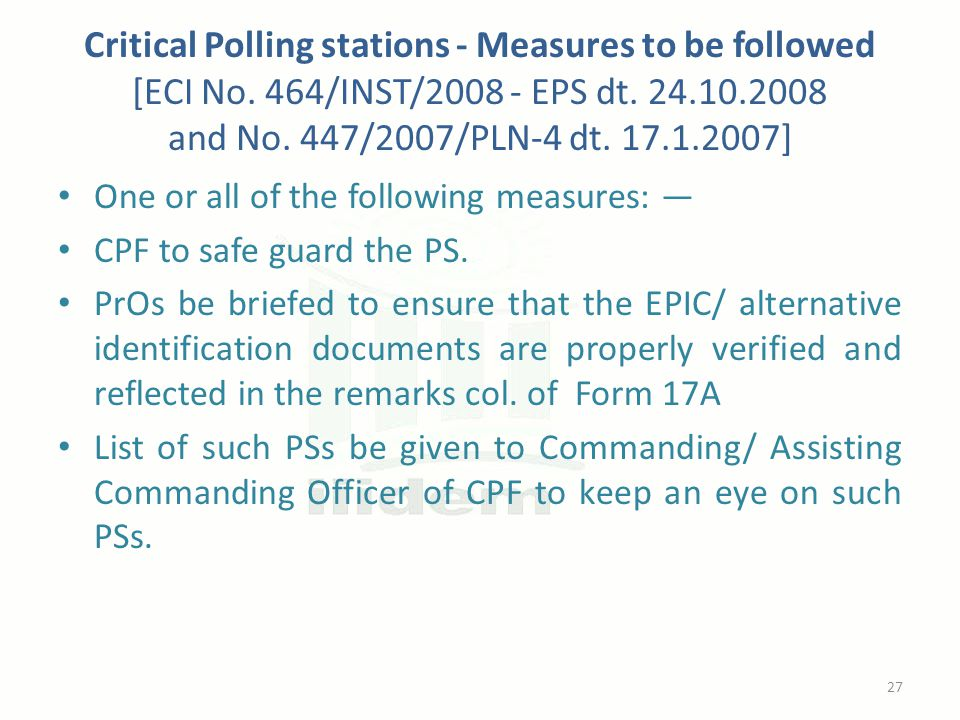Critical Polling stations - Measures to be followed [ECI No.