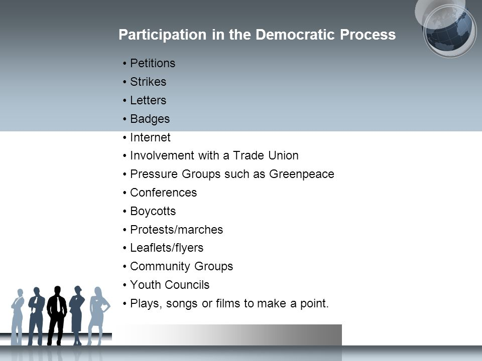 Participation in the Democratic Process Petitions Strikes Letters Badges Internet Involvement with a Trade Union Pressure Groups such as Greenpeace Co