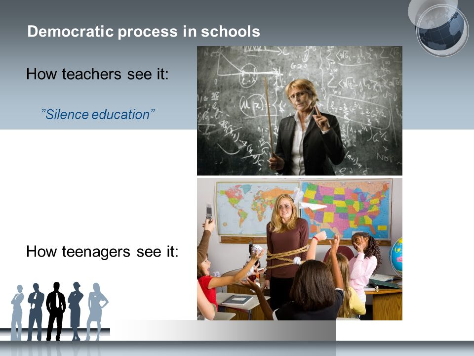 "Democratic process in schools How teachers see it: ""Silence education"" How teenagers see it:"