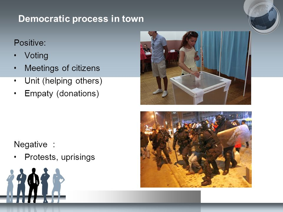 Democratic process in town Positive: Voting Meetings of citizens Unit (helping others) Empaty (donations) Negative : Protests, uprisings