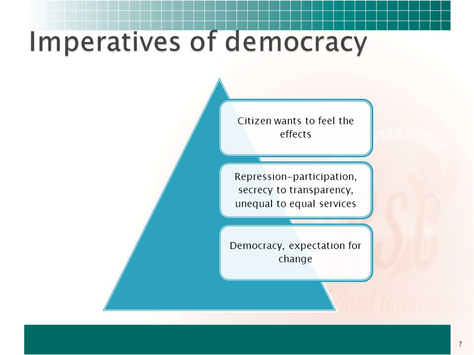 Citizen wants to feel the effects Repression-participation, secrecy to transparency, unequal to equal services Democracy, expectation for change 7