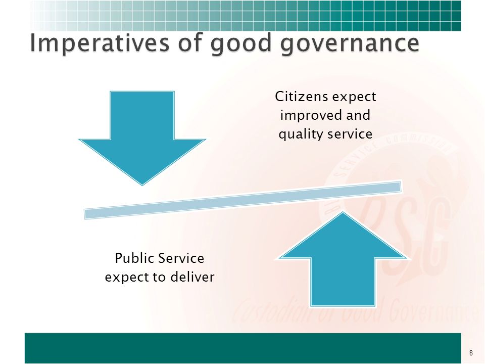 Public Servants Management of Departments ParliamentCitizens Participatory M&E Hot Line Inspections Reports and Assessments (policy and programme) Adjudicate grievances M&E of Goodgoverancne 29