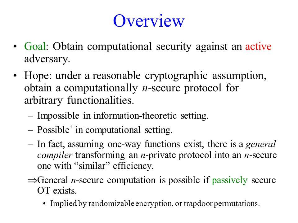 Overview Goal: Obtain computational security against an active adversary.