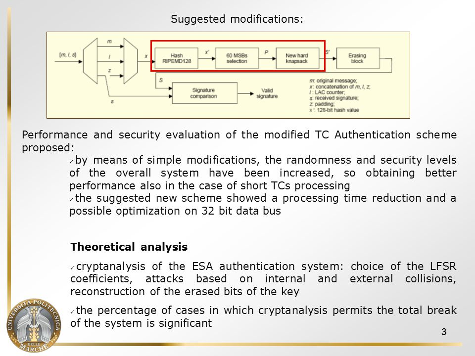 14  2006/2007: Further insights into AES-based MAC generation, and Authenticated Encryption with Associated Data (AEAD) modes Besides classical operational modes usually adopted for MAC generation purposes, new and more recent solutions have been evaluated and are currently under consideration, given the peculiarities of the space context, w.r.t.