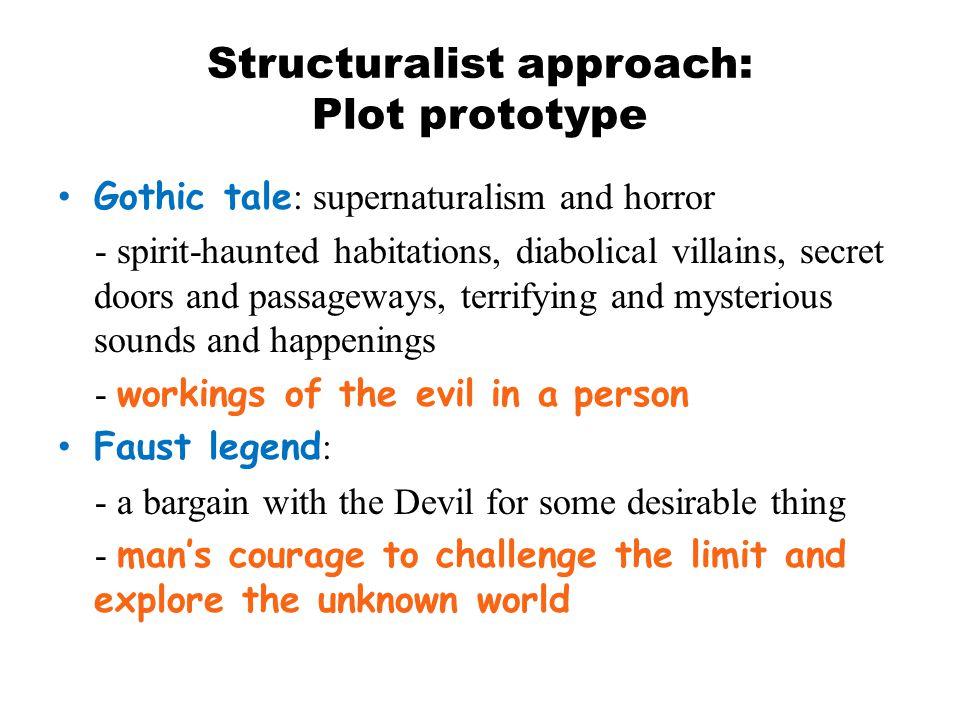Structuralist approach: Plot prototype Gothic tale : supernaturalism and horror - spirit-haunted habitations, diabolical villains, secret doors and pa