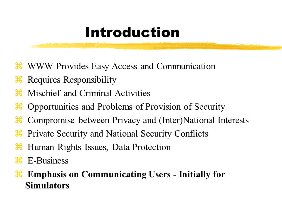 Introduction z WWW Provides Easy Access and Communication z Requires Responsibility z Mischief and Criminal Activities z Opportunities and Problems of Provision of Security z Compromise between Privacy and (Inter)National Interests z Private Security and National Security Conflicts z Human Rights Issues, Data Protection z E-Business z Emphasis on Communicating Users - Initially for Simulators