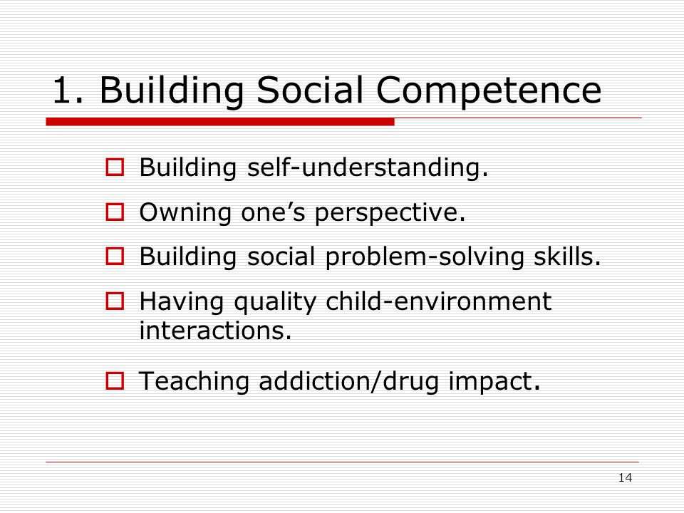 14 1. Building Social Competence  Building self-understanding.  Owning one's perspective.  Building social problem-solving skills.  Having quality